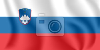 Flagge von Slowenien. Realistische wehende Flagge der Republik Slowenien. Strukturierte flüssige Flagge von Slowenien.