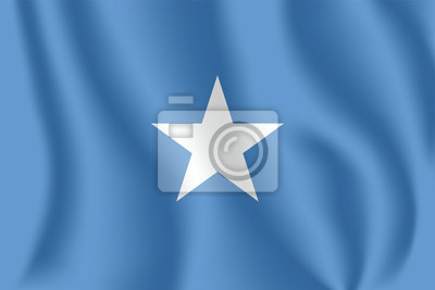 Flagge von Somalia. Realistische wehende Flagge der Bundesrepublik Somalia. Stoff texturierte fließende Flagge von Somalia.