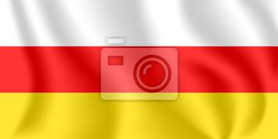 Flagge von Südossetien. Realistische wehende Flagge der Region Zchinwali. Strukturierte flüssige Flagge von Süd-Ossetien.