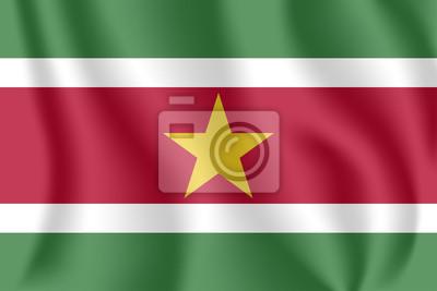 Flagge von Suriname. Realistische wehende Flagge der Republik Suriname. Stoff texturierte fließende Flagge von Suriname.