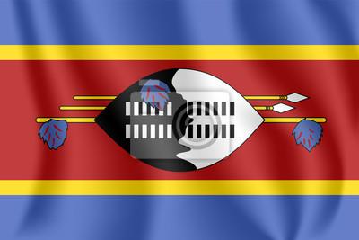Flagge von Swasiland. Realistische wehende Flagge des Königreiches von Swasiland. Stoff texturierte fließende Flagge von Eswatini.