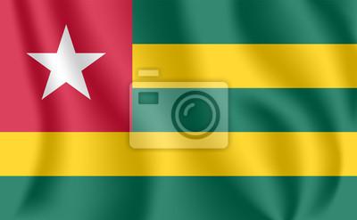 Flagge von Togo. Realistische wehende Flagge der Republik Togo. Stoff texturierte fließende Flagge von Togo.