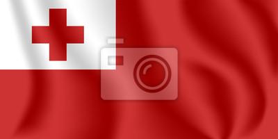 Flagge von Tonga. Realistische wehende Flagge des Königreichs Tonga. Stoff texturierte fließende Flagge von Tonga.