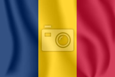 Flagge von Tschad. Realistische wehende Flagge der Republik Tschad. Stoff texturierte fließende Flagge von Tschad.