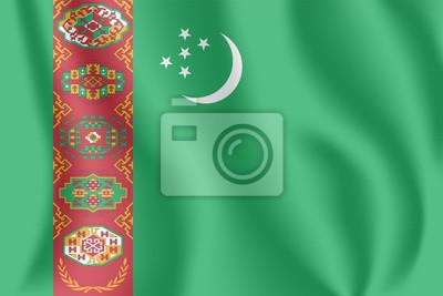 Flagge von Turkmenistan. Realistische wehende Flagge von Turkmenistan. Stoff texturierte fließende Flagge von Turkmenien.