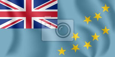 Flagge von Tuvalu. Realistische wehende Flagge von Ellice Islands. Stoff texturierte fließende Flagge von Tuvalu.