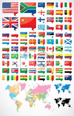 Flaggen und Welt Karte