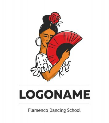 Flamenco dance school logo with woman with a fan in her hands and a rose in her head hand-drawn on whate background. Banner template spanish symbol. Flat cartoon vector illustration.