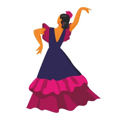 Flamenco dancer in a back dance pose in a blue dress on a white background. Symbol of Spain for tourist guides, Souvenirs, promos. Poster for dance schools and festival. Cartoon vector illustration.