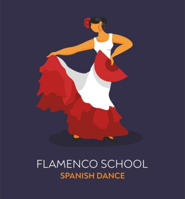 Flamenco dancer in a dance pose in a red dress with a fan. Banner, business card, promo for dance school. Concept of folk culture. Symbol of Spain for tourist guides, Souvenirs. Vector illustration.