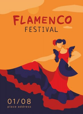 Flamenco dancer in a dance pose with a fan in her hand on a white background. Symbol of Spain. Banner template of card, invitation on party. Vertical decorative festival poster. Vector illustration.