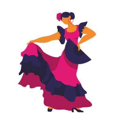 Flamenco dancer in a dance pose with a fan in her hand on a white background. Symbol of Spain for tourist guides, Souvenirs, promos. Poster for dance schools and festival. Cartoon vector illustration.