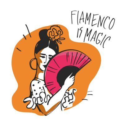 Flamenco dancer with a fan in her hands and a rose in her head hand-drawn on yellow background for a poster or baner. Concept of traditional Spanish culture. Vector illustration