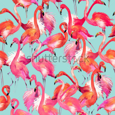 Sticker flamingo birds seamless background. Watercolor tropical nature pattern.