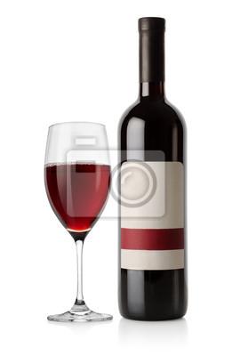 Flasche Rot-und Weinglas