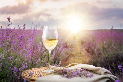 Sticker Flasche Wein vor Lavendel.