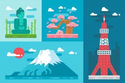 Sticker Flat Design Japan Sehenswürdigkeiten gesetzt