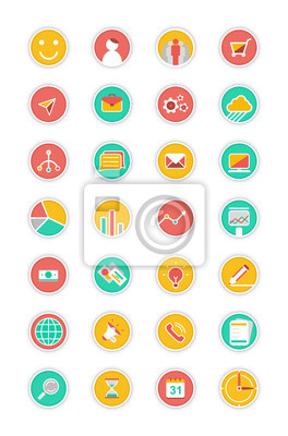 Flat icons vector collection with soft shadow effect