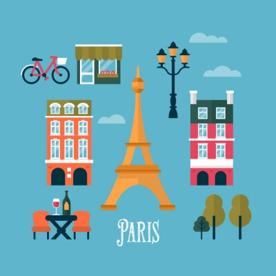 Sticker Flat stylish icons for Paris, France. Travel and tourism infogra