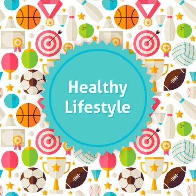 Sticker Flat Vektor Sport und Fitness Hintergrund
