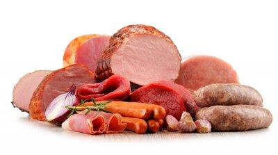 Sticker Fleischprodukte einschließlich Schinken und Wurst isoliert auf weiß