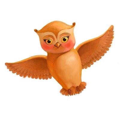 Sticker Fliegende Eule-Symbol. Illustration im Cartoon-Stil einer braunen Eule. S