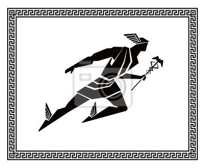 Fliegende Hermes im griechischen Rahmen. Vektorzeichnung