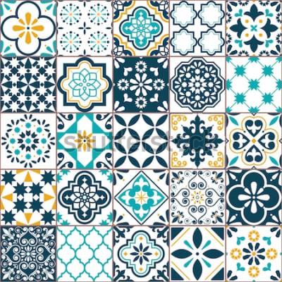 Sticker Fliesen-Vektormuster Lissabons geometrisches Azulejo, portugiesisches oder spanisches Retro- altes Fliesenmosaik, nahtloser Mittelmeertürkis und gelbes Design. Dekorativer Textilhintergrund