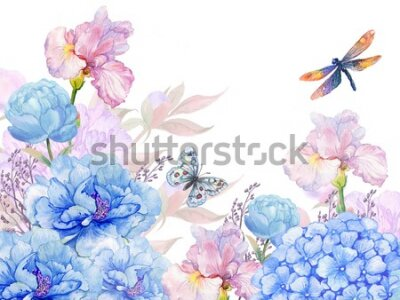 Sticker floral background .illustration of watercolor. flowers peonies, irises, hydrangeas,butterflies and dragonflies . postcard floral pattern