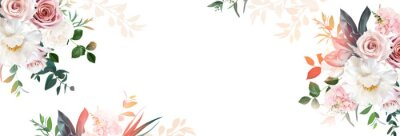 Sticker Floral banner arranged from leaves and flowers