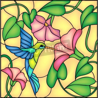 Sticker Floral composition with tropical flowers and flying humming bird   colibri, vector illustration
