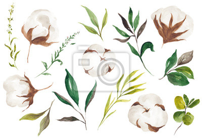 Floral Foliage Elements, Rose, Cotton, Sprig, Blossom, Greenery, Leaves