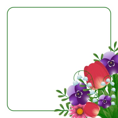 Floral  frame, design banner with spring, card for spring season with white frame and  spring plants, leaves and flowers decoration. Vector illustration.