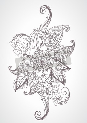 Sticker Floral helle Gekritzelillustration für Ihr Design