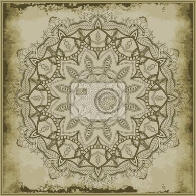 Floral Mandala auf Vintage Hintergrund. Ornamental Kreis silhouet