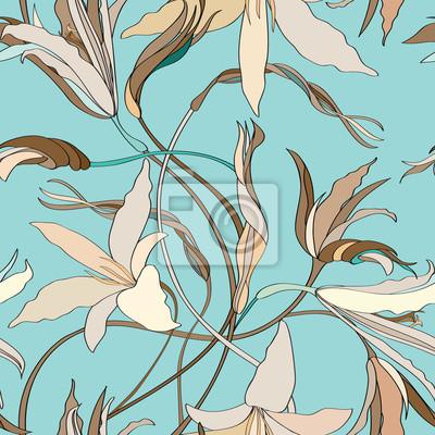 Sticker Floral nahtlosen Hintergrund. Blumenmuster.