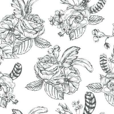 Sticker Floral nahtlosen Hintergrund mit Rosen und Federn