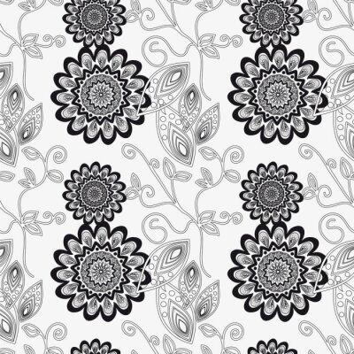 Sticker Floral Ornament in schwarz und weiß.