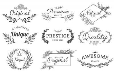 Sticker Floral ornament label. Flowers and branches emblem, decorative leaf frame and ornamental framed text vector template set. Floral ornament decoration, leaf branch emblem wedding illustration
