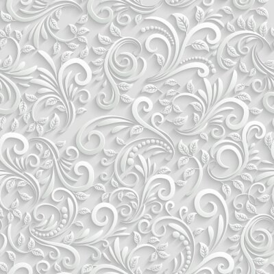 Sticker Floral Seamless Background 3D