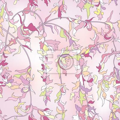 Sticker Floral seamless background. Japanise flourish spring pattern.