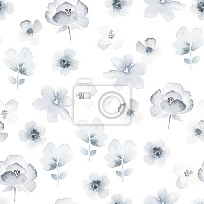 Floral seamless pattern with tender abstract flowers in indigo colors and vintage watercolor style. Vector illustration on white background.
