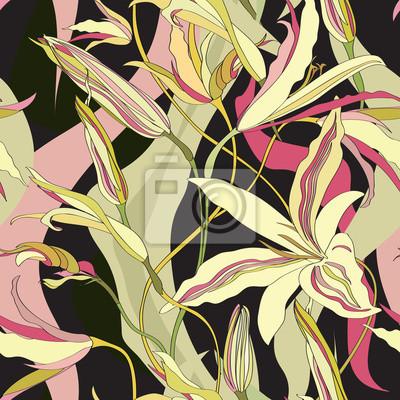 Sticker Floral texture. Flower seamless  pattern. Flourish background
