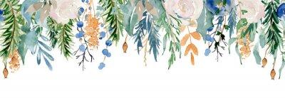 Sticker Floral winter seamless border illustration. Christmas Decoration Print Design Template