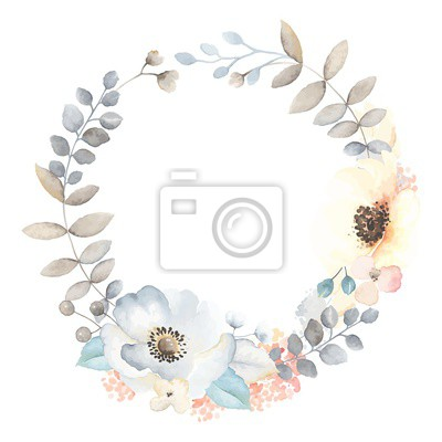 Floral wreath with flowers Anemones, leaves and branches in vintage watercolor style. Vector illustration on white background for your text. Invite frame.