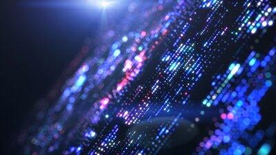 Sticker Flow of digital information. Global connection concept. Technology futuristic background. Big data visualization.