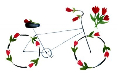 Sticker Flower bike. Hand drawn watercolor illustration on paper. Black noir bike with red roses, poppies with green leaves. Romantic love. Isolated on white background