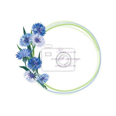 Sticker Flower frame. Kornblume Sommerbilderrahmen