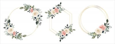 Sticker Flower Frame Watercolor Vector set. Flora Wreath Watercolor. Flower with gold frame. Rose and anemone flower. Wedding flower frame.