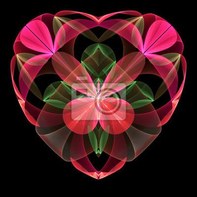 Flower heart Fraktale auf schwarzem Hintergrund. Computer generierte gra